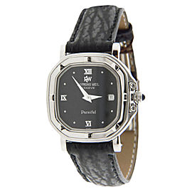 Raymond Weil 9892 Parsifal Stainless Steel and Leather Square Case Black Dial 30mm Watch