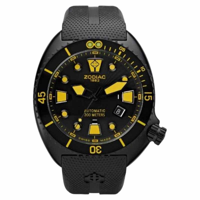 "Image of ""Zodiac Oceanaire Zo8017 Black Rubber Strap Mens Watch"""