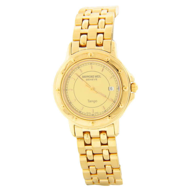 "Image of ""Raymond Weil Tango Gold Date Dial Gold-tone Steel Bracelet Quartz"""
