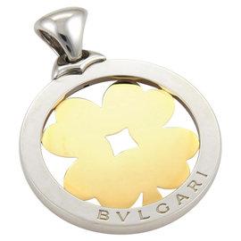 Bulgari 18K Yellow Gold & Stainless Steel Tondo Clover Round Pendant