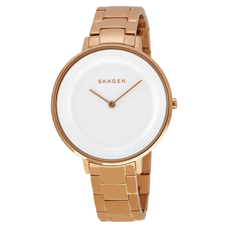 """Image of """"Skagen Skw2331 Ditte Silver Dial Rose Gold Stainless Steel Women's"""""""