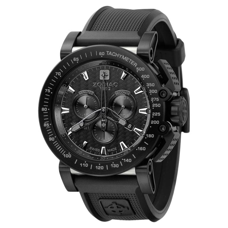 """""Zodiac Zo8516 ZMX Racer Chronograph Analog Display Swiss Quartz Black"""""" 578762"