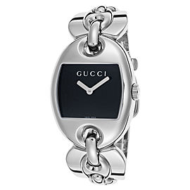Gucci YA121313 Black Dial Stainless Steel Bracelet Womens Watch