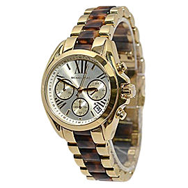 Michael Kors Mini Bradshaw Tortoise MK5973 Chronograph Acrylic Gold-Tone Watch