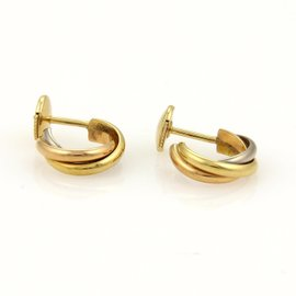 Cartier Trinity 18K Tri-Color Gold Mini Semi Hoop Stud Earrings