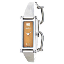 Gucci 1500L Orange Dial Stainless Steel Horsebit Womens Watch