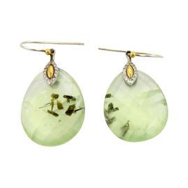 Gurhan 24K Yellow Gold & Sterling Nokta Green Quartz Diamonds Dangle Earrings