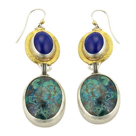 Gurhan 24K Yellow Gold & Sterling Silver Galapagos Turquoise & Lapis Hook Dangle Earrings