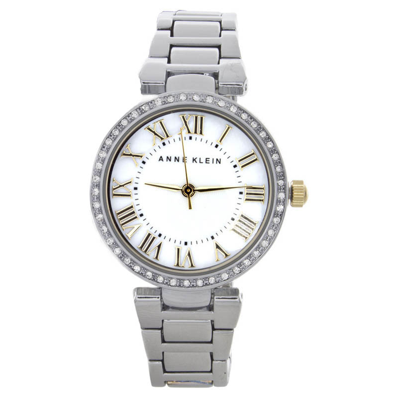 "Image of ""Anne Klein Ak/1711Mptt Mother Of Pearl Dial Silver-Tone Bracelet"""