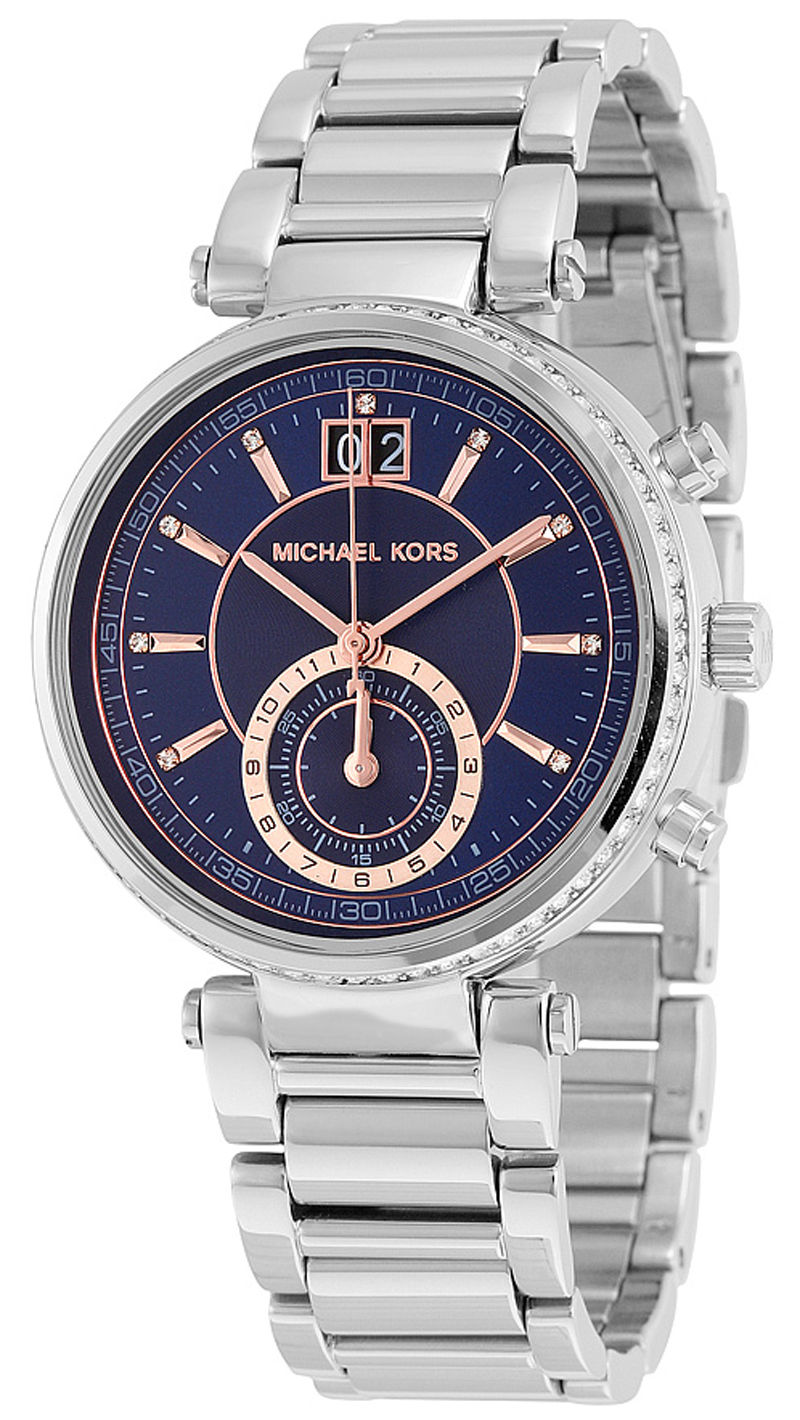 "Image of ""Michael Kors Mk6224 Sawyer Blue Dial Stainless Steel Chronograph"""