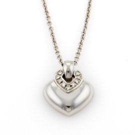 Bulgari 18K White Gold Dopio Cuore Diamonds Heart Pendant Necklace