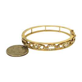 14K Yellow Gold With 1.00ct Diamonds Open Design Bracelet