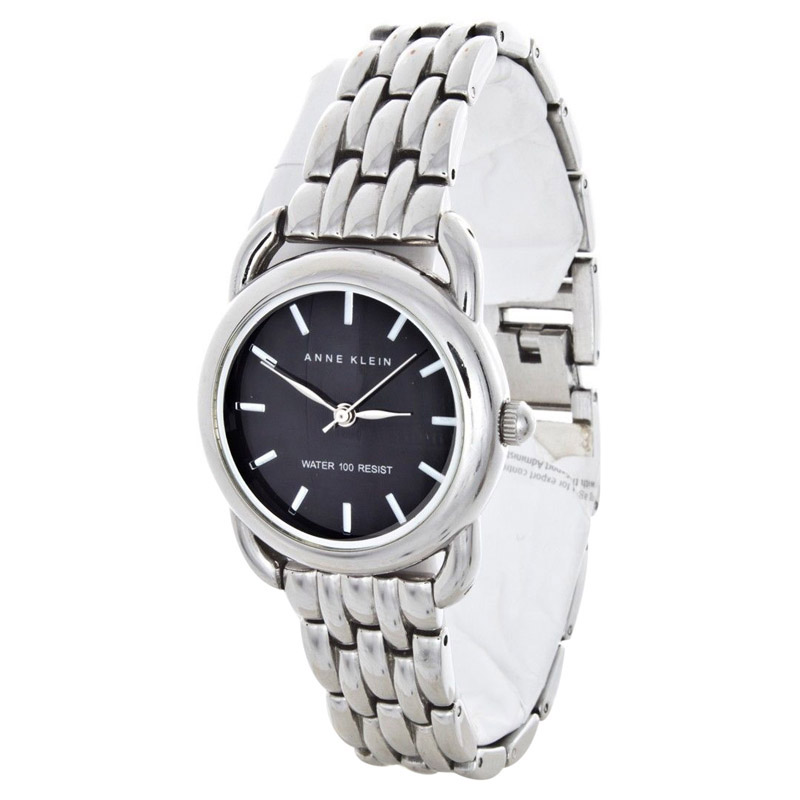 "Image of ""Anne Klein Ak/1365 Stainless Steel Bracelet Elegant Black Dial Womens"""