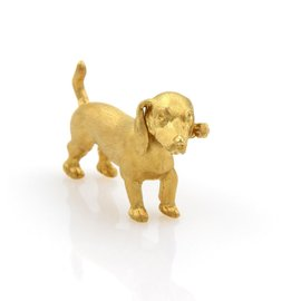 Buccellati 18K Yellow Gold Dachshund Dog Pin Brooch