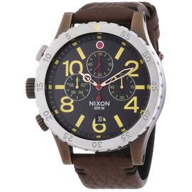 Nixon A3631625 Black Dial Brown Leather Strap Chronograph Men's Watch