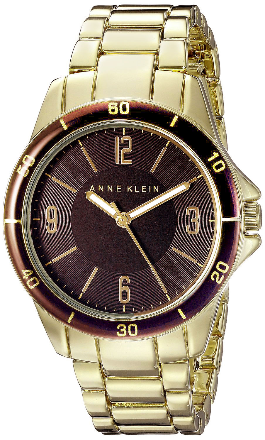 "Image of ""Anne Klein Ak/2058Bngb Brown Dial Gold Tone Metal Bracelet Womens"""