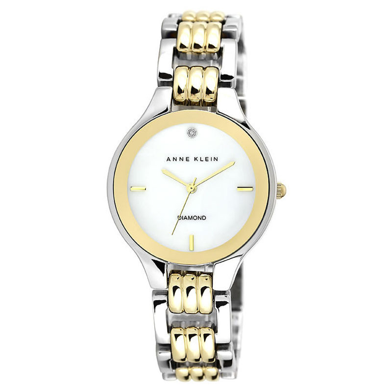 "Image of ""Anne Klein Ak/1489Mptt Silver & Gold-Tone Metal Diamond 34mm Watch"""