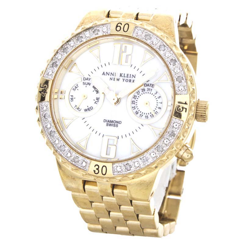 "Image of ""Anne Klein 12/1975 Mother of Pearl Dial Gold Stainless Steel Band"""