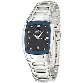 Bulova 96D20 Diamond Accent Blue Dial Stainless Steel Mens Watch