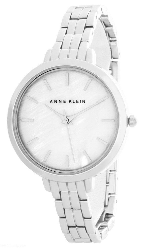 """Image of """"Anne Klein Ak/2071 Pearl Dial Silver Tone Metal Bracelet Quartz Womens"""""""