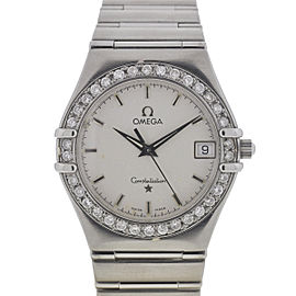 Omega Constellation Stainless Steel Diamonds Bezel 34mm Watch