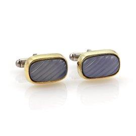 David Yurman 18K Yellow Gold Sterling Silver & Chaldecony Rectangular Shape Cufflinks