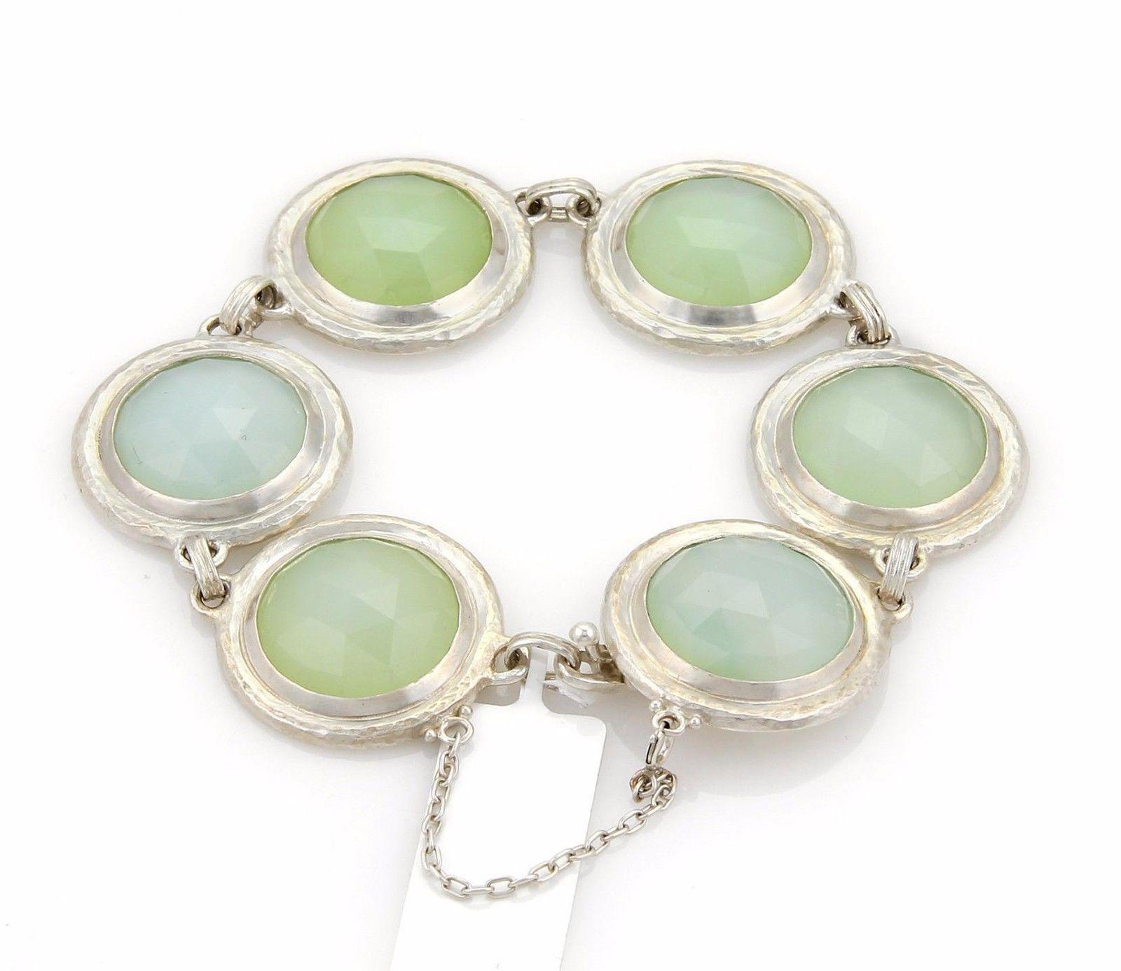 "Image of ""Gurhan Gumdrop Sterling Silver Aqua Chalcedony Round Link Bracelet 8"""