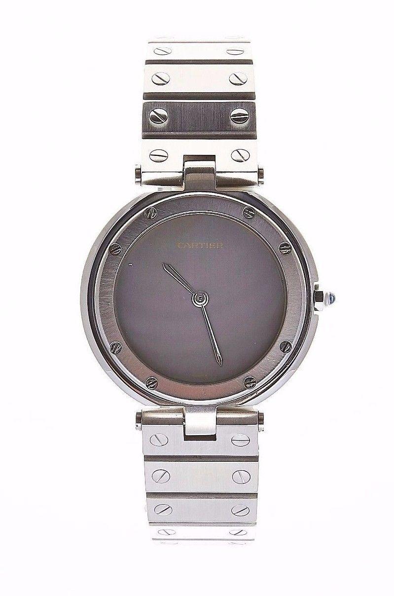 "Image of ""Cartier Santos Round Gray Dial Stainless Steel Screw Bracelet Quartz"""