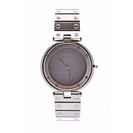 Cartier Santos Round Gray Dial Stainless Steel Screw Bracelet Quartz Mens Watch