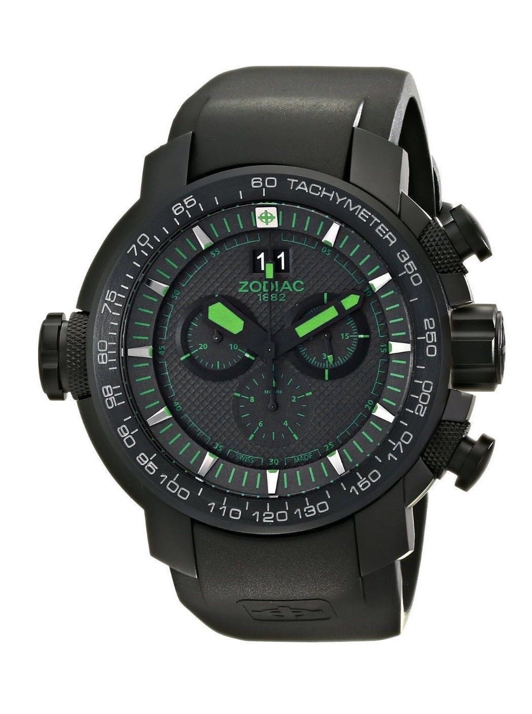 "Image of ""Zodiac ZMX 50mm Special Ops Black Stainless Steel With Rubber Band"""