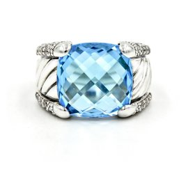 David Yurman 925 Sterling Silver Faceted Blue Topaz & Diamonds Sculpted Cable Ring Size 6