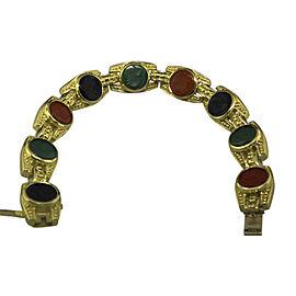 Judith Ripka 18K Yellow Gold Onyx Carnelian Intaglio Bracelet