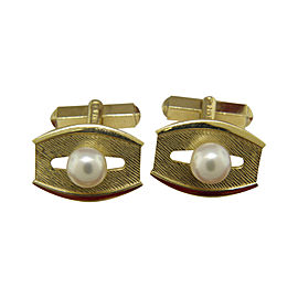 Mikimoto 14K Yellow Gold & Cultured Pearl Cufflinks