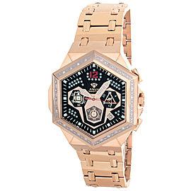 Aqua Master W#356_6 Black Dial Rose Gold Tone Stainless Steel Diamond Mens Watch