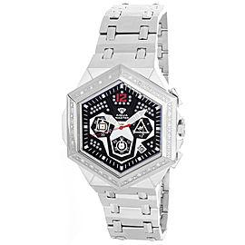 Aqua Master W#356_3 Black Dial Stainless Steel Bracelet Diamond Mens Watch