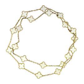 Van Cleef & Arpels Vintage Alhambra 18K Yellow Gold White Coral Necklace