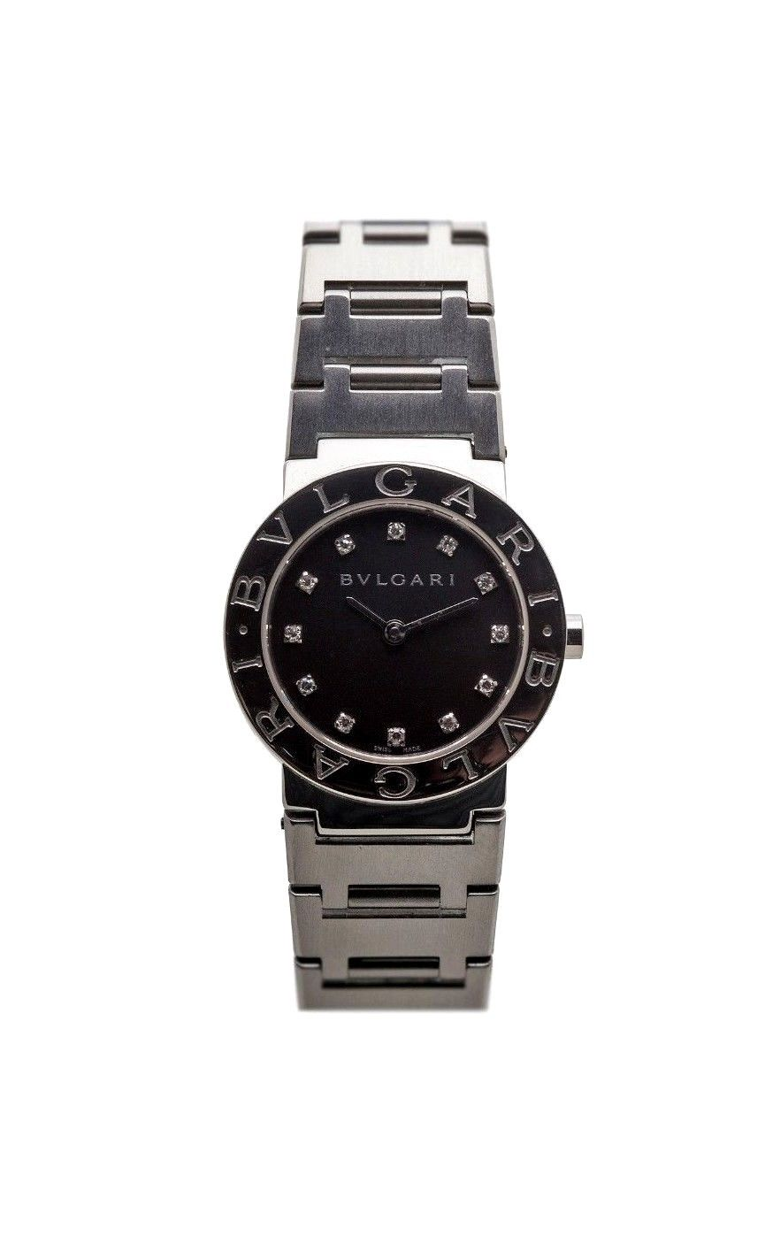 "Image of ""Bulgari Bb2655 Black Diamond Dial Quartz Stainless Steel 35mm Womens"""
