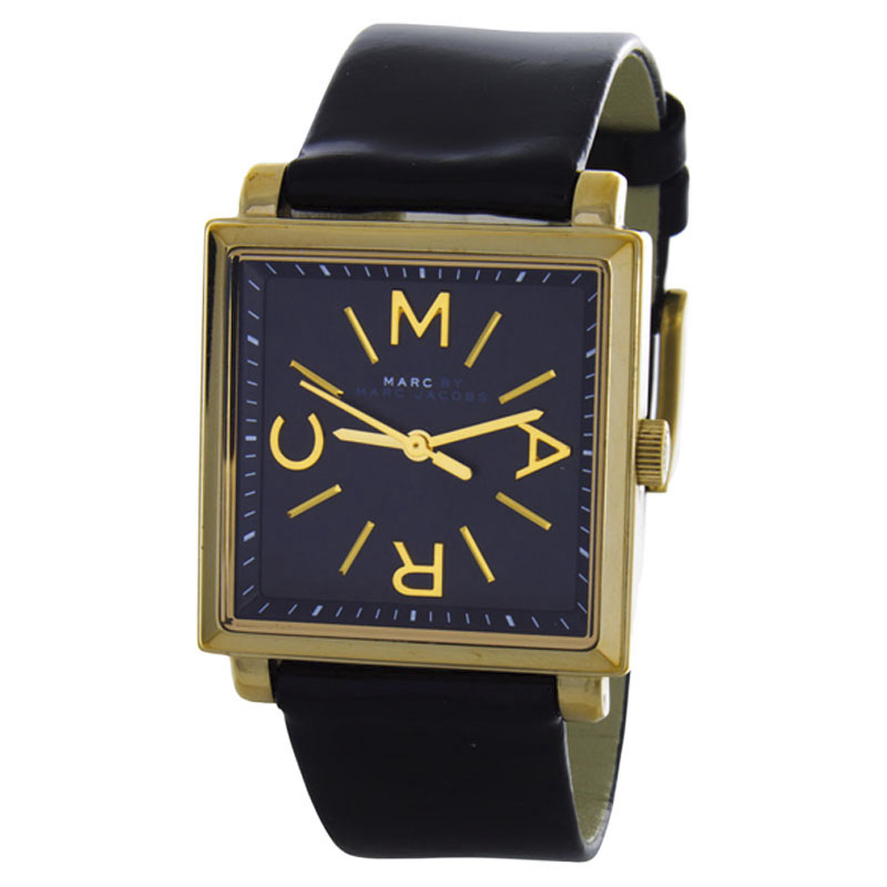 "Image of ""Marc by Marc Jacobs Mbm1279 Truman Black Dial Black Leather Womens"""