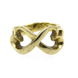 Tiffany & Co. Paloma Picasso 18K Yellow Gold Double Love Heart Ring Size 6.25