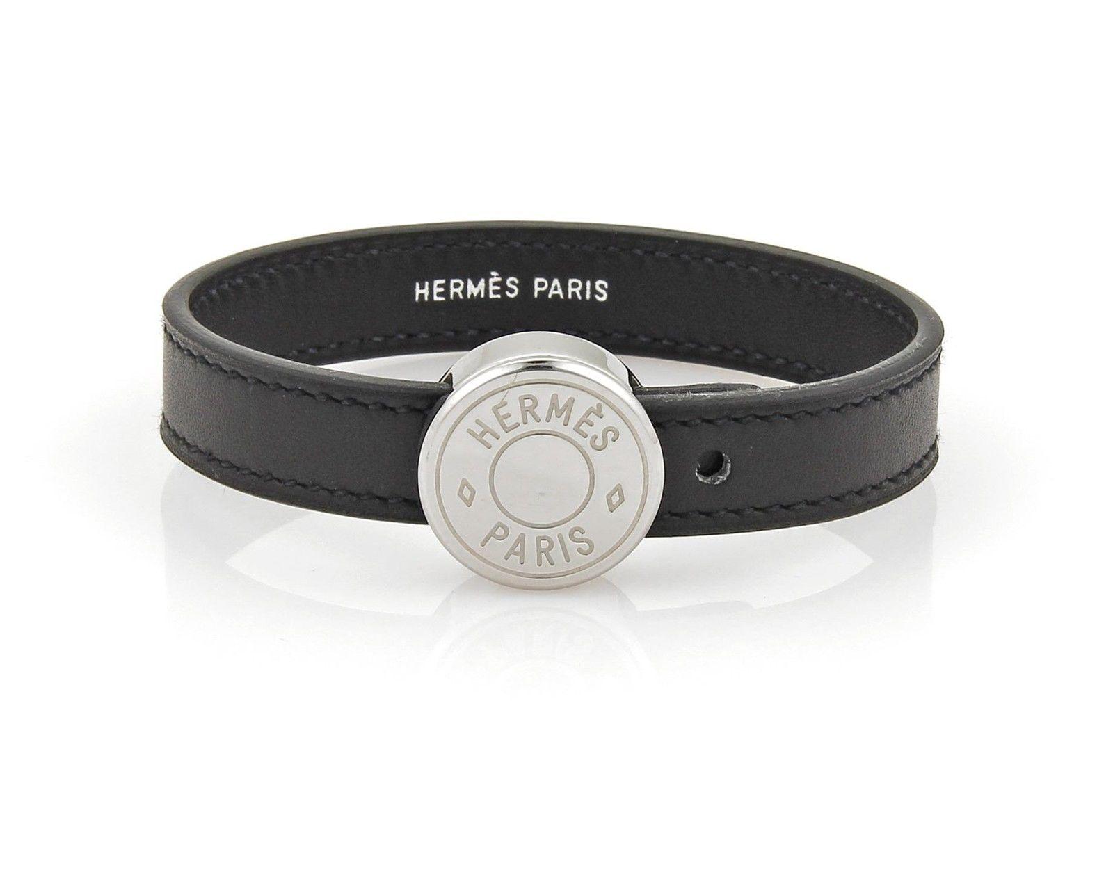 "Image of ""Hermes Leather & Siver Tone Metal Band Bracelet"""
