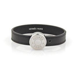 Hermes Leather & Siver Tone Metal Band Bracelet