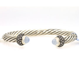 David Yurman Moonstone Diamond Cable Cuff Bracelet