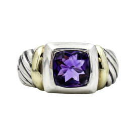 David Yurman Vintage Sterling Silver and 14K Yellow Gold Amethyst Noblesse Ring Size 7