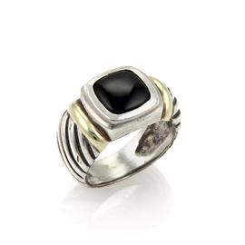 David Yurman Nobelesse Onyx Sterling Silver 14K Yellow Gold Cable Ring Size 10