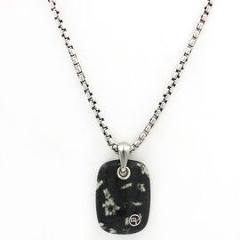 David Yurman Sterling Silver & Chinese Writing Stone Necklace