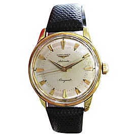 Longines Conquest 18K Yellow Gold & Leather Swiss 35mm Mens Watch