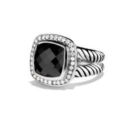 David Yurman 925 Sterling Silver Albion Diamond Black Orchid Ring Size 6