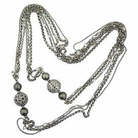 David Yurman Quatrefoil Sterling Silver Diamond and Black Tahitian Pearl Chain Necklace