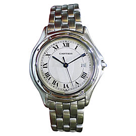Cartier Panther Cougar 987904 Steel Roman Numeral 32mm Womens Watch