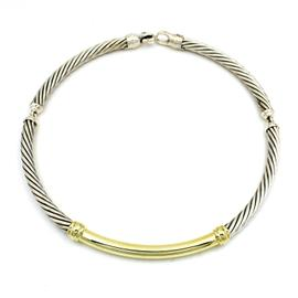 David Yurman 925 Sterling Silver & 14K Yellow Gold Metro Cable Choker Necklace